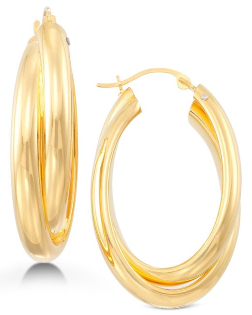 Signature Gold - Metallic Oval Twist Hoop Earrings In 14k Gold Over Resin - Lyst