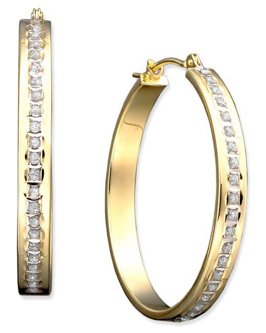 Macy's | Metallic 14k Gold Diamond Accent Bold Hoop Earrings | Lyst
