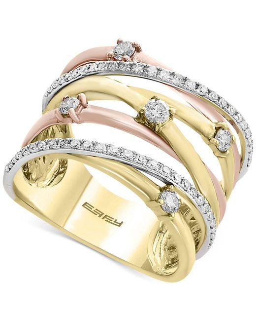 Effy Collection - Metallic Diamond Crisscross Ring (1/2 Ct. T.w.) In 14k Gold, White Gold & Rose Gold - Lyst