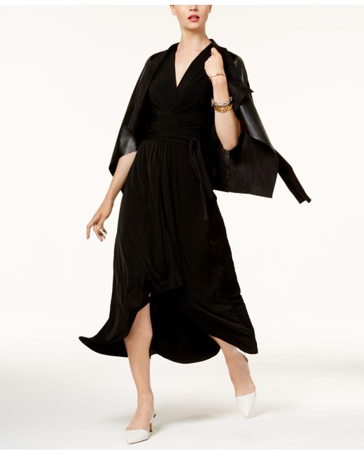 Michael Kors | Black Petite High-low Faux-wrap Dress | Lyst