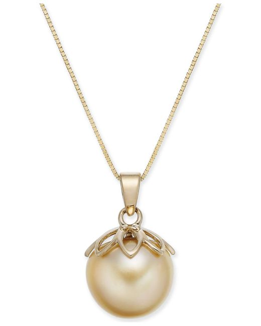 "Macy's - Metallic Cultured Golden South Sea Pearl (10mm) 18"" Pendant Necklace In 14k Gold - Lyst"