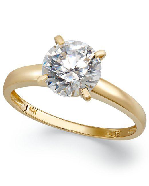 Arabella - Metallic 14k Gold Swarovski Zirconia Solitaire Ring (3-1/2 Ct. T.w.) - Lyst