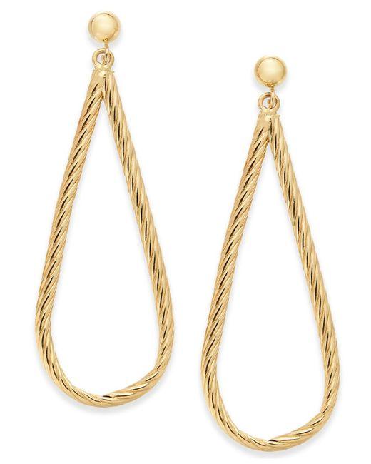Macy's | Metallic Hammered Teardrop Hoop Earrings In 10k Gold | Lyst