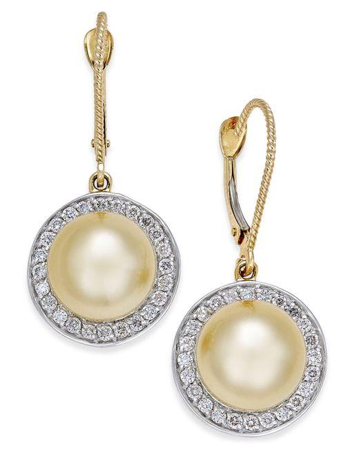Macy's | Metallic Cultured Golden South Sea Pearl (9mm) And Diamond (1/2 Ct. T.w.) Drop Earrings In 14k Gold | Lyst