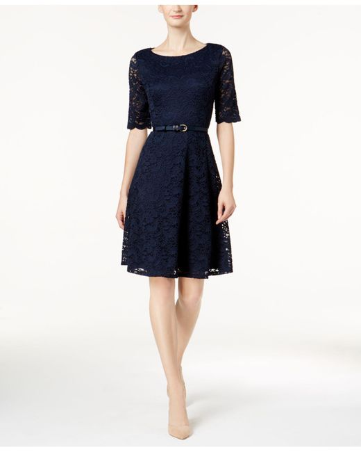 Charter Club | Multicolor Petite Belted Lace Dress | Lyst