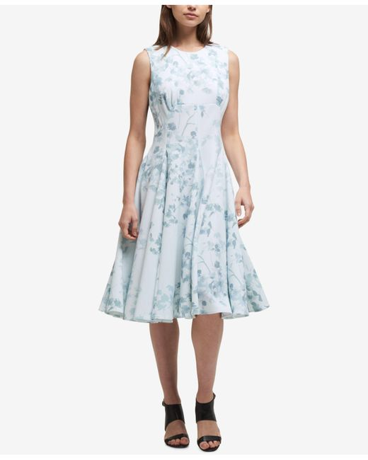 DKNY - Blue Floral Wallpaper Fit & Flare Dress - Lyst