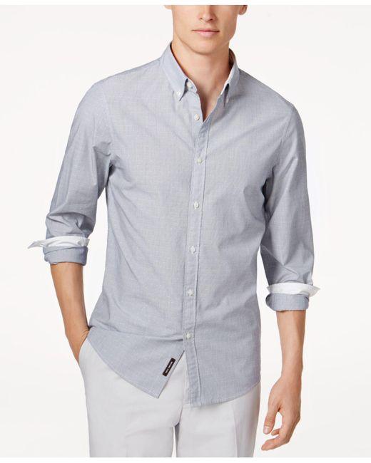 Michael Kors | Blue Men's Striped Dobby Shirt for Men | Lyst