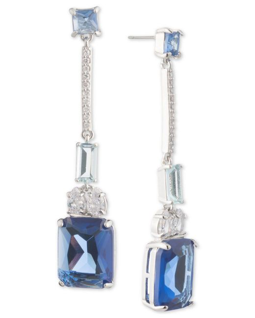Carolee - Blue Silver-tone Crystal Linear Drop Earrings - Lyst
