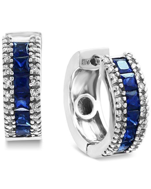 Effy Collection - Metallic Effy® Sapphire (1-5/8 Ct. T.w.) & Diamond (1/6 Ct. T.w.) Hoop Earrings In 14k White Gold - Lyst