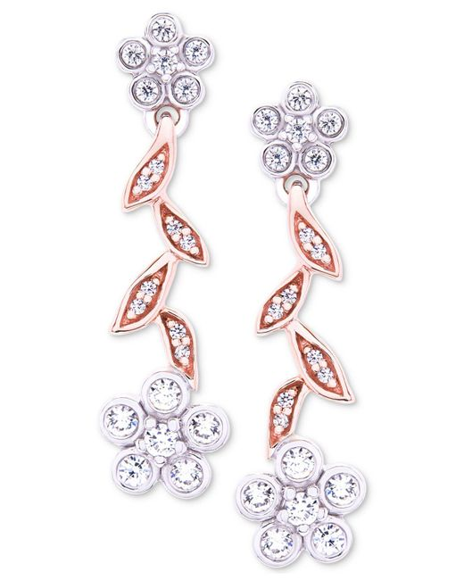 Wrapped in Love - Tm Diamond Flower Drop Earrings (1/4 Ct. T.w.) In 14k Rose & White Gold, Created For Macy's - Lyst