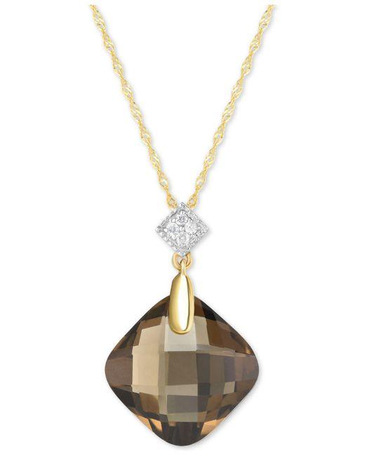 "Macy's - Metallic Smoky Quartz (9 Ct. T.w.) & Diamond Accent 18"" Pendant Necklace In 14k Gold - Lyst"