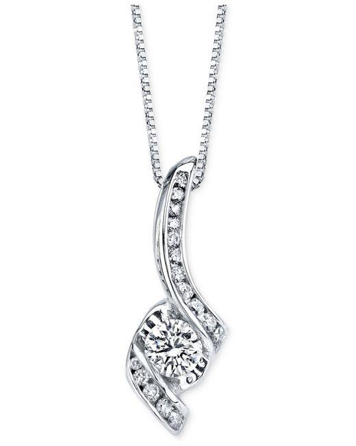 Sirena - Metallic Diamond Pendant Necklace (3/8 Ct. T.w.) In 14k White Gold - Lyst