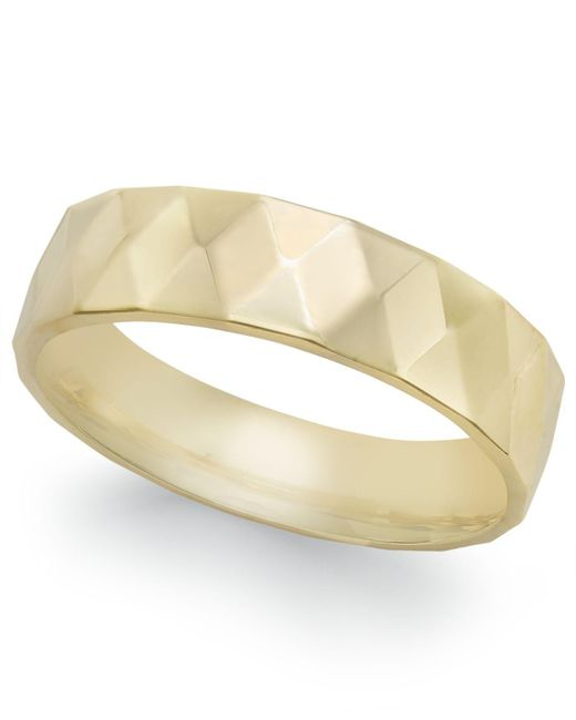 Macy's | Metallic Geometric Textured Wedding Band In 18k Gold | Lyst