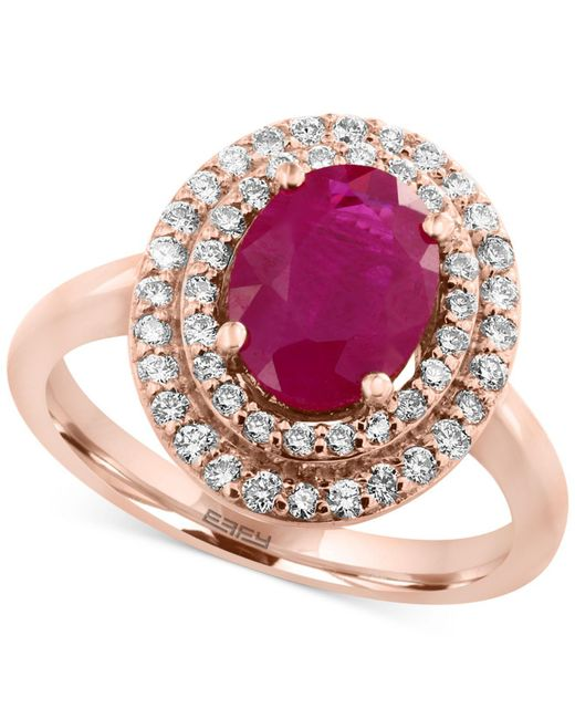 Effy Collection | Pink Certified Ruby (1-9/10 Ct. T.w.) And Diamond (3/8 Ct. T.w.) Ring In 14k Rose Gold | Lyst