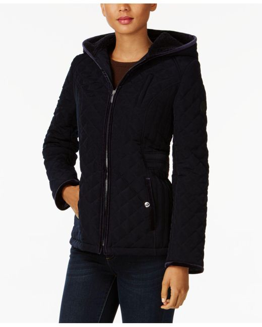 Laundry by Shelli Segal | Blue Quilted Velvet-trim Jacket | Lyst