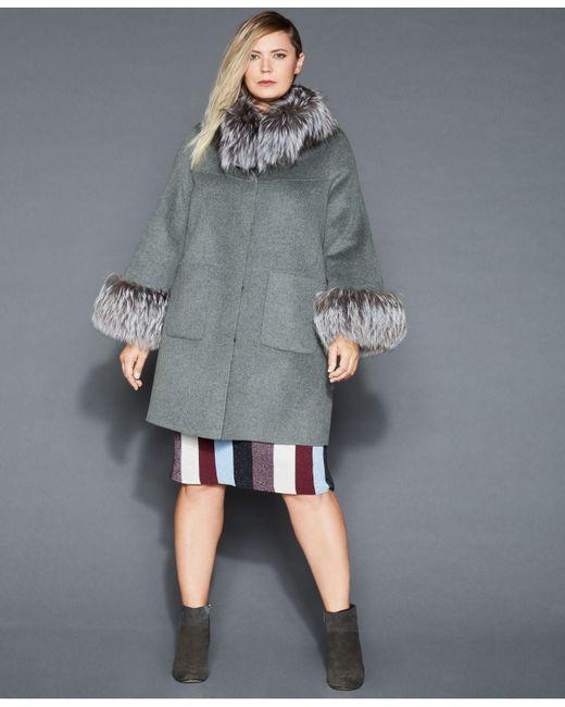 77df06ccf23 The Fur Vault - Gray Plus Size Fox-fur-trim Wool Coat - Lyst ...