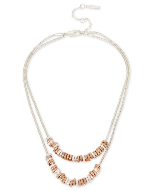 Kenneth Cole | Metallic Two-tone Beaded Double Row Necklace | Lyst