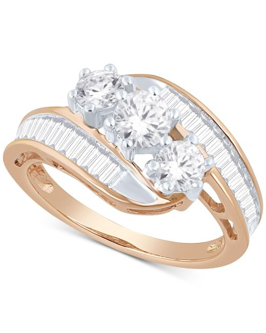 Macy's - Metallic Diamond Bypass Ring In 14k Gold, White Gold Or Rose Gold (1-1/2 Ct. T.w.) - Lyst