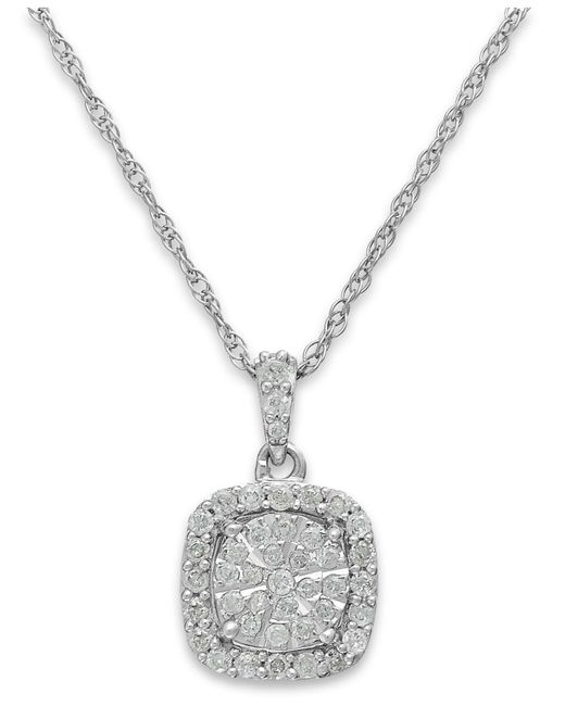 Macy's - Metallic Diamond Cushion Pendant Necklace In Sterling Silver (1/3 Ct. T.w.) - Lyst
