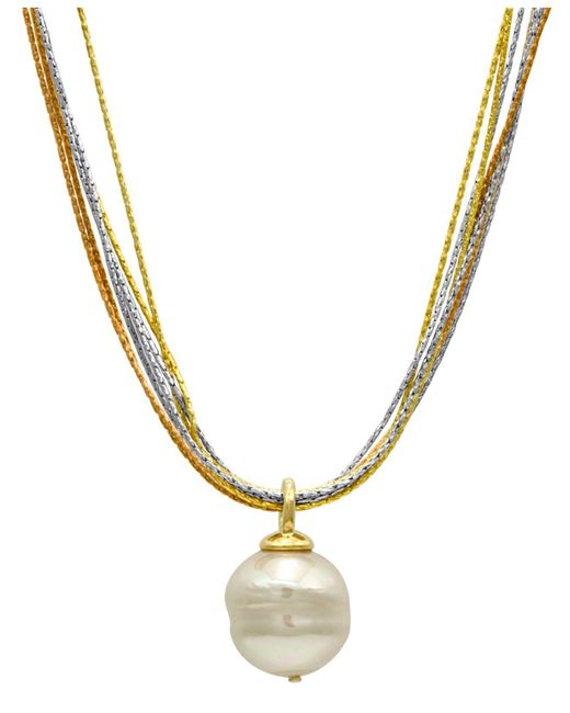 Majorica | Metallic Sterling Silver And 18k Gold Over Sterling Silver Pendant, Imitation Baroque Pearl | Lyst