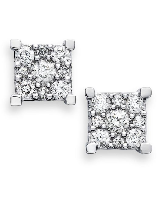 Macy's - Metallic Diamond Square Cluster Earrings In 14k White Gold (1/2 Ct. T.w.) - Lyst