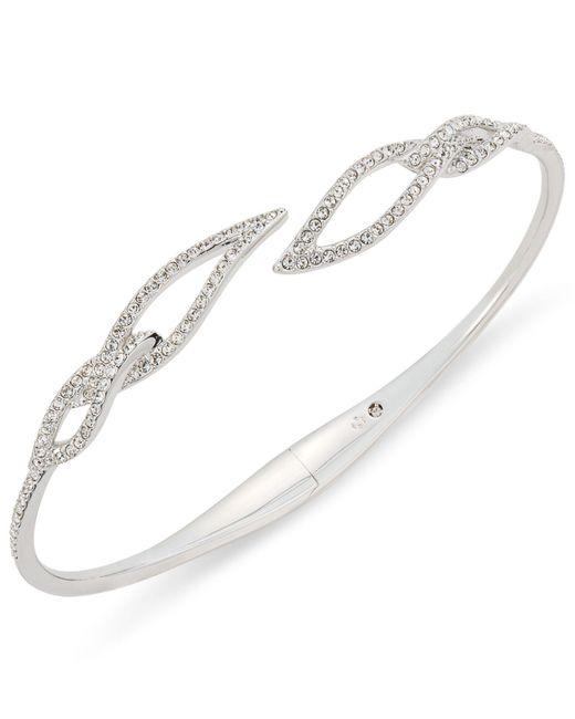 Danori | Multicolor Silver-tone Pavé Leaf Open Bracelet | Lyst