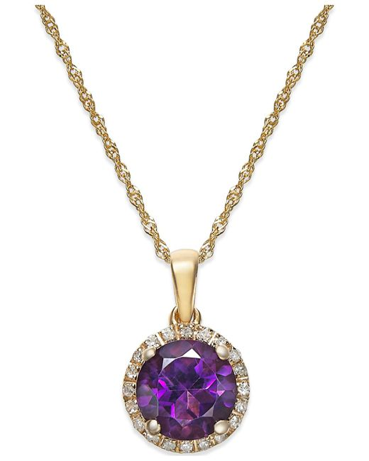 Macy's - Metallic Amethyst (1-1/10 Ct. T.w.) And Diamond Accent Pendant Necklace In 14k Gold - Lyst