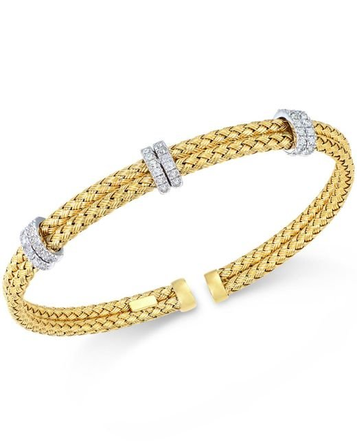 Macy's - Metallic Diamond Mesh Bangle Bracelet (1/2 Ct. T.w.) In Rose, Yellow Or White Gold-plated Sterling Silver - Lyst