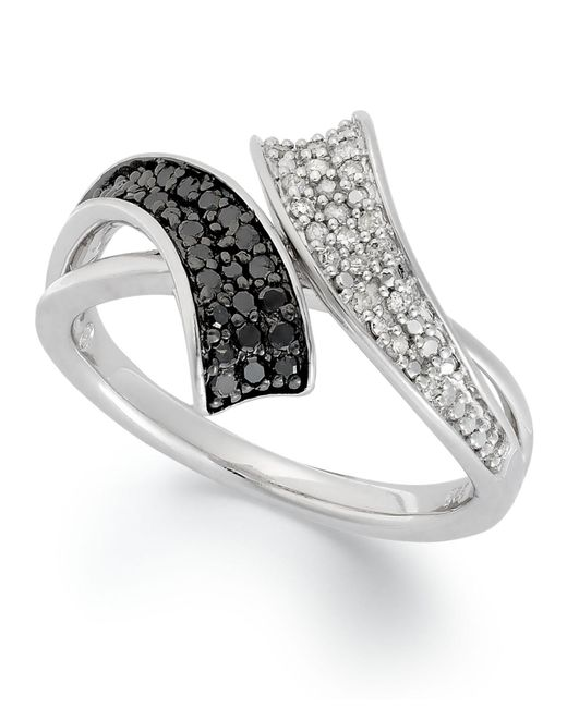 Macy's - Metallic Sterling Silver Ring, Black (1/6 Ct. T.w.) And White Diamond (1/10 Ct. T.w.) Bypass Ring - Lyst
