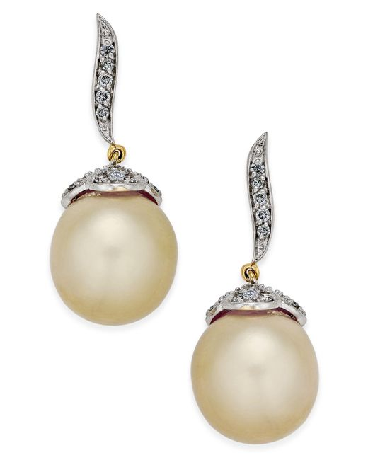 Macy's - Metallic Cultured Oval Golden South Sea Pearl (11mm) And Diamond (3/8 Ct. T.w.) Drop Earrings In 14k Gold - Lyst