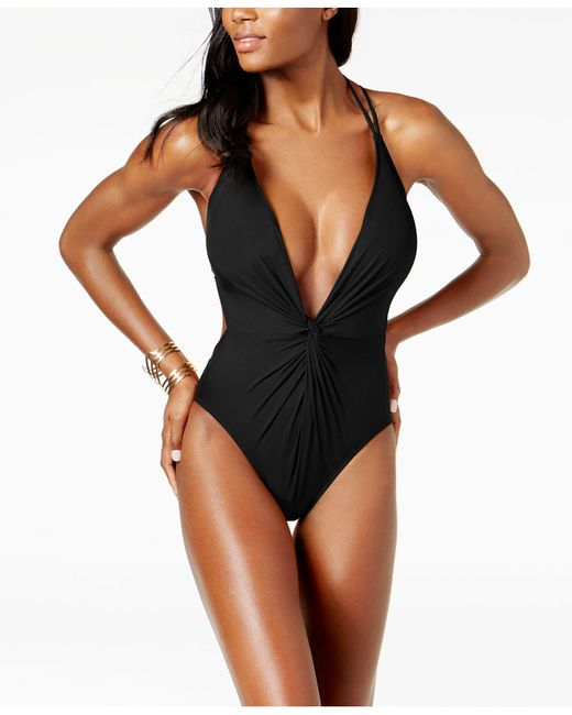 Kenneth Cole - Black Plunge Tummy-control Cheeky One-piece Swimsuit - Lyst