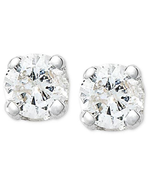 Macy's - Metallic 10k White Gold Earrings, Round-cut Diamond Accent Stud Earrings - Lyst
