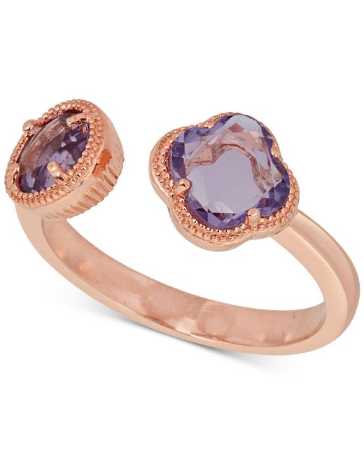 Macy's - Metallic Amethyst Cuff Ring (1-9/10 Ct. T.w.) In 18k Rose Gold-plated Sterling Silver - Lyst