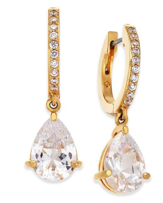 Kate Spade - Metallic Crystal Huggie Hoop Drop Earrings - Lyst