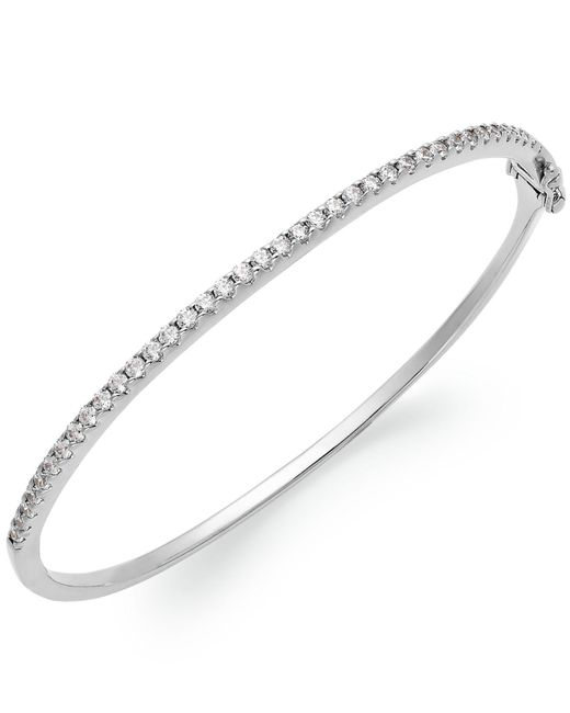 Arabella | Metallic Sterling Silver Swarovski Cubic Zirconia Bangle Bracelet (1-3/4 Ct. T.w.) | Lyst