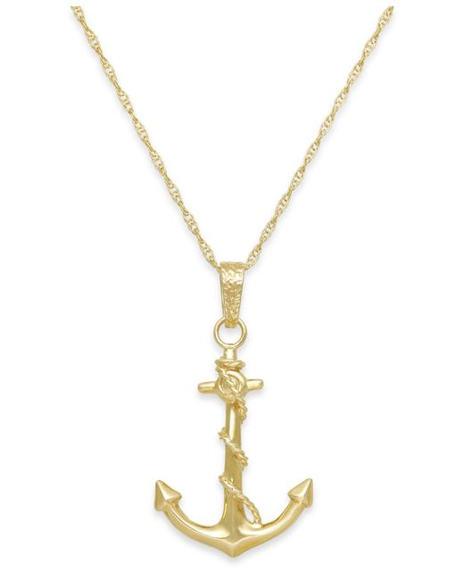 Macy's | Metallic Men's Anchor Pendant Necklace In 10k Gold for Men | Lyst