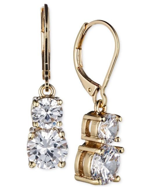 Anne Klein | Metallic Gold-tone Double Crystal Drop Earrings | Lyst