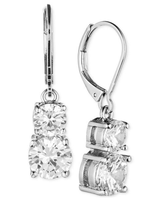Anne Klein | Metallic Gold-tone Double Crystal Drop Earrings | Lyst