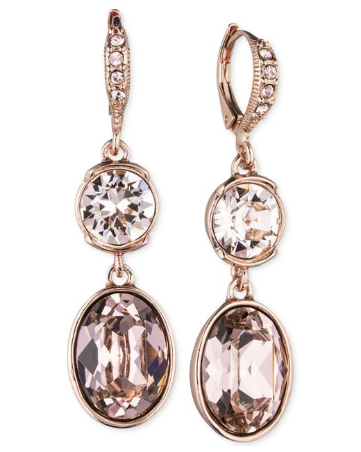Givenchy | Metallic Crystal Double Drop Earrings | Lyst