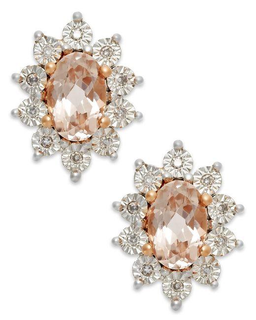 Macy's | Metallic Morganite (3/4 Ct. T.w.) And Diamond Stud Earrings In 10k Rose Gold | Lyst