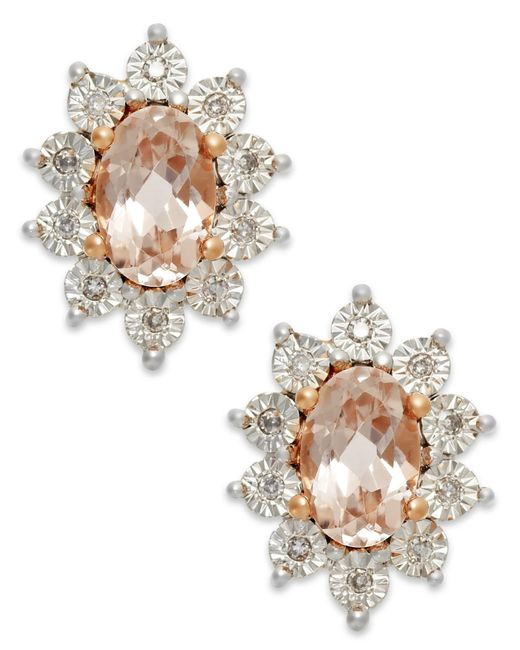 Macy's | Metallic Morganite (3/4 Ct. T.w.) And Diamond Stud Earrings In 10k Rose Gold | Lyst
