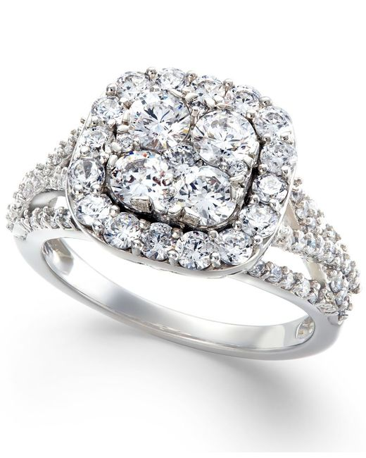 Macy's | Metallic Diamond Halo Cluster Engagement Ring In 14k White Gold (2 Ct. T.w.) | Lyst