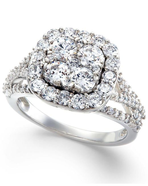 Macy's   Metallic Diamond Halo Cluster Engagement Ring In 14k White Gold (2 Ct. T.w.)   Lyst