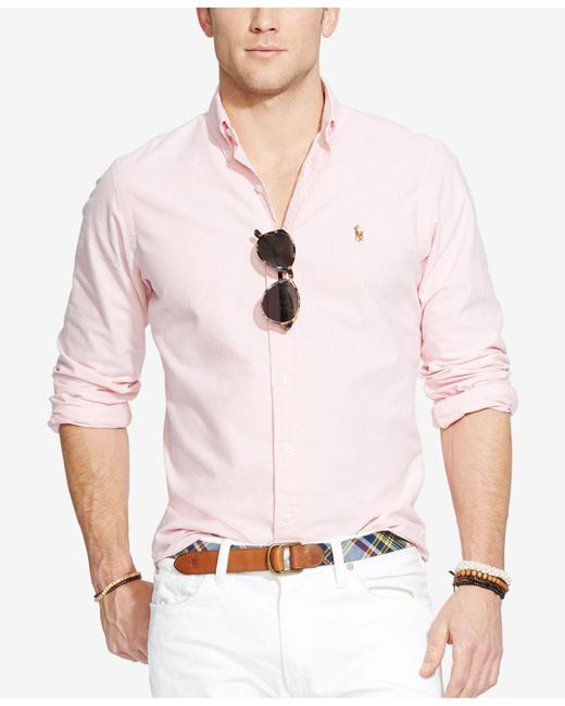 Polo Ralph Lauren | Pink Solid Oxford Shirt for Men | Lyst