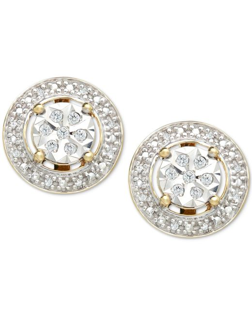 Macy's | Metallic Diamond (1/10 Ct. T.w.) Halo Stud Earrings In 10k Gold | Lyst