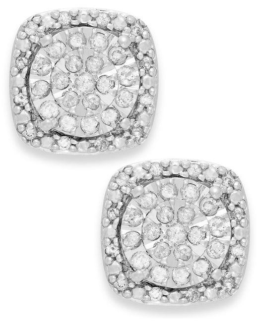 Macy's | Metallic Diamond Cushion Stud Earrings In Sterling Silver (1/3 Ct. T.w.) | Lyst
