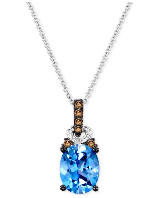 Le Vian | Blue Topaz (2-3/4 Ct. T.w.) And Diamond Accent Pendant Necklace In 14k White Gold | Lyst