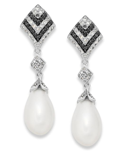 Macy's | Metallic Black And White Diamond (1/3 Ct. T.w.) And Cultured Freshwater Pearl (7mm) Earrings In Sterling Silver | Lyst
