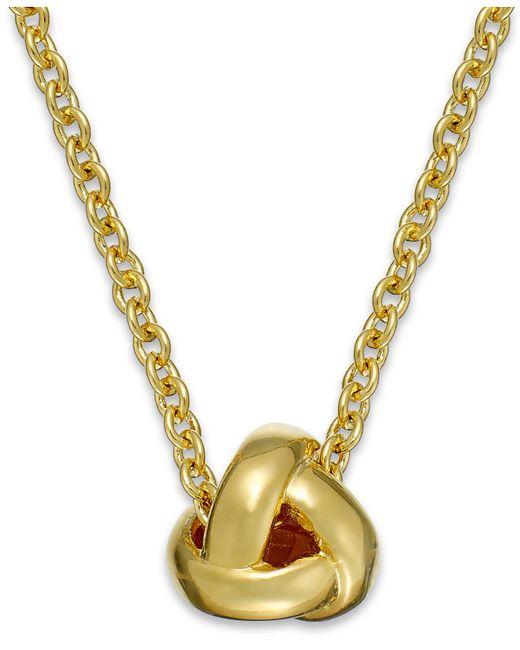Kate Spade | Metallic Gold-tone Knot Pendant Necklace | Lyst