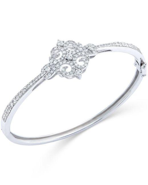 Macy's | Metallic White Sapphire Bangle Bracelet In Sterling Silver (3/4 Ct. T.w.) | Lyst